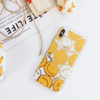 イエロー 7plus 8plus iphoneケース tpu スマイル カバー(iPhoneケース)