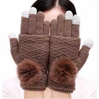 ライトブラウン 手袋 レディース ニット 指無し タッチスクリーン対応 防寒(手袋)