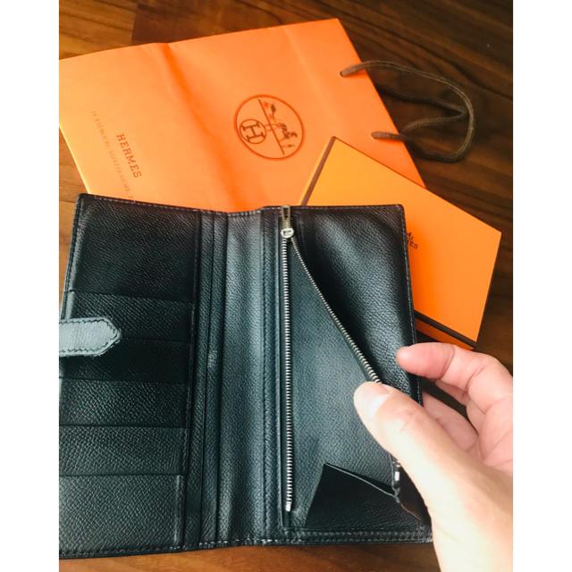 Hermes(エルメス)のもやし様専用!!HERMES エルメス ベアン 長財布 黒 正規品 メンズのファッション小物(長財布)の商品写真