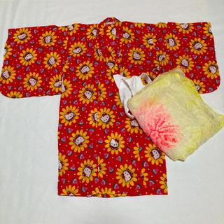 ハローキティ(ハローキティ)の美品 キティーちゃん 浴衣 帯つき 80cm 女の子(甚平/浴衣)