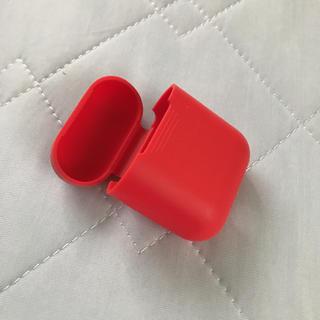 Airpodsケース 赤 シリコン(ヘッドフォン/イヤフォン)
