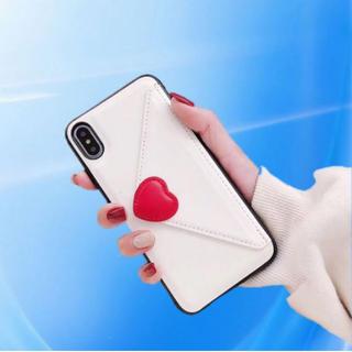 iPhoneケース7/8 上質PUレザ ハートラブレター型 ホワイト(iPhoneケース)