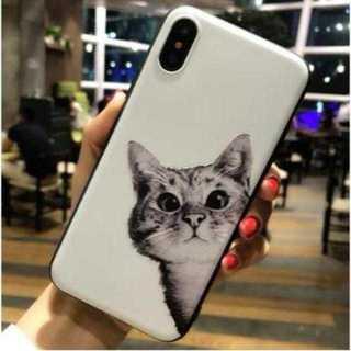 iphoneケース 猫柄 白 TPUケース ソフトシェル 柔らかい 保護 可愛い(iPhoneケース)