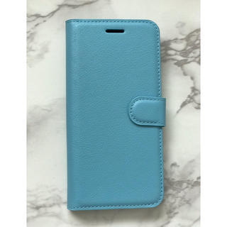 ギャラクシー(Galaxy)のシンプルレザー手帳型ケースGalaxyS9Plus  ブルー 水色(Androidケース)