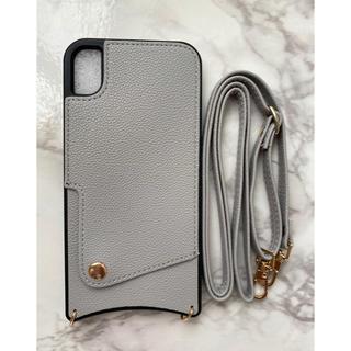 iPhoneX/iPhoneXsレザーソフトケース&ストラップセット グレー灰色(iPhoneケース)