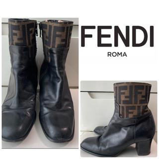 FENDI - フェンディ ブラックレザー ズッカ柄 ブーツ