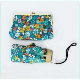 折りたたみ傘 収納 カバー 付き コンパクト 旅行用 アンブレラ 青 花柄(傘)