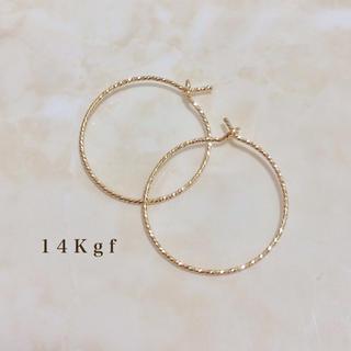 agete - 14Kgf/K14gf グリッターフープピアス リングピアス ゴールド