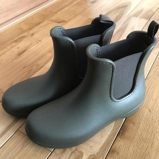 クロックス(crocs)の美品 クロックス レインブーツ チェルシー ダークグリーン W8 24.0cm(レインブーツ/長靴)