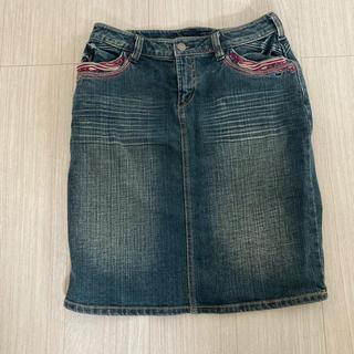 ベルメゾン(ベルメゾン)の古着風 デニム スカート(ひざ丈スカート)