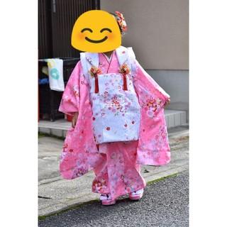七五三 女の子 着物衣装セット ピンク&ホワイト基調 娘が3歳のとき着用(和服/着物)