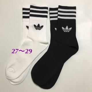 アディダス(adidas)の【27〜29㎝】靴下 白・黒 2足(ソックス)