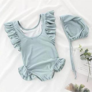 くすみカラー水着 ブルー/80cm 韓国子供服(水着)