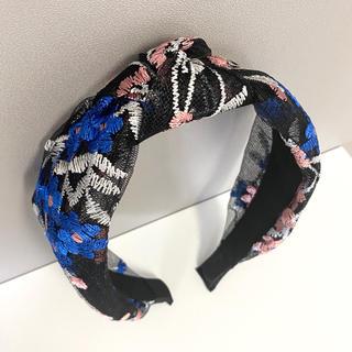 新品✴︎フラワー刺繍チュールリボンカチューシャ ブルー