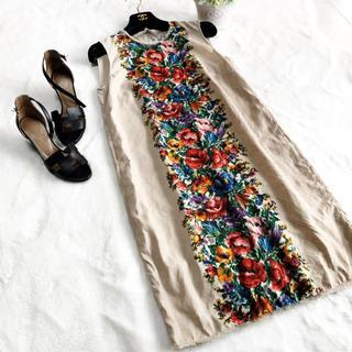 DOLCE&GABBANA - 美品 ドルガバ  リネン センターライン 花柄 ワンピース サマードレス