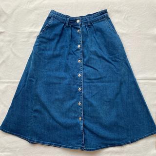 ザラ(ZARA)のフロントボタンフレアデニムスカート(ひざ丈スカート)