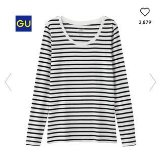 ジーユー(GU)のボーダークルーネックTシャツ(長袖)(Tシャツ(長袖/七分))