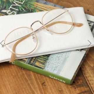 ベイフロー(BAYFLOW)の値下 未使用 ベイフロー BAYFLOW ベージュ 伊達眼鏡 ラウンド メガネ(サングラス/メガネ)