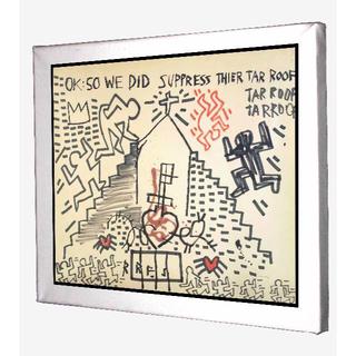 71-バスキア キースへリング コラボ キャンバスアート 模写(ボードキャンバス)
