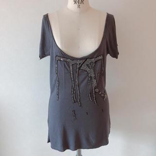 ザラ(ZARA)のZARAビーズ刺繍Tシャツ(Tシャツ(半袖/袖なし))
