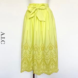 エーアイシー(A・I・C)の新品タグ付 A.I.C エーアイシー スカラップ刺繍カットレース ロングスカート(ロングスカート)