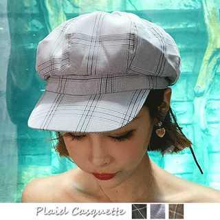 キャスケット帽子 レディース 格子チェック柄 CAP 小物 ファッション雑貨(キャスケット)