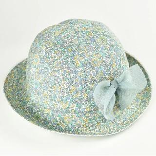 ファミリア(familiar)の新品 ポプキンズ 帽子 リバティ柄 ベビー キッズ 女の子 リボン ゴム付き(帽子)
