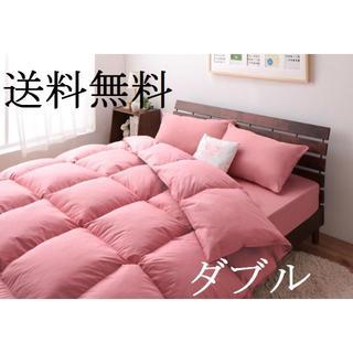 布団セット ダブル 即決/送料無料 10点セット ベッドタイプ ピンク(布団)