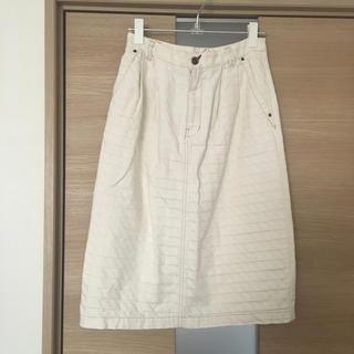 アトリエドゥサボン(l'atelier du savon)のアトリエドゥサボン 白デニムスカート(ひざ丈スカート)