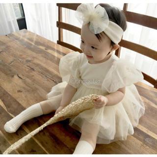ピンク♡ホワイト ベビードレス ロンパース ふわふわチュール