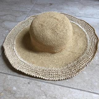 【GREVI 】グレヴィ ストローハット イタリア製 つば広帽子 54(帽子)