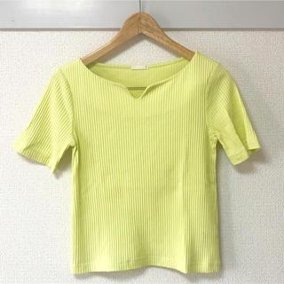 ジーユー(GU)のGU ジーユー レディース トップス リブTシャツ M レモンイエロー 半袖(Tシャツ(半袖/袖なし))