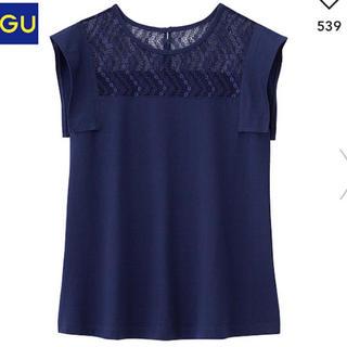 ジーユー(GU)のレースコンビT(半袖)Z(Tシャツ(半袖/袖なし))