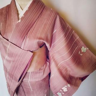 艶ローズピンク☆縞華♥正絹*袷小紋(着物)