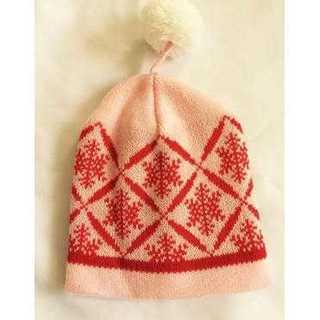 ベビー キッズ 子供用 ニット帽 ノンキャラ 国内メーカー品 レッド 赤 結晶(帽子)