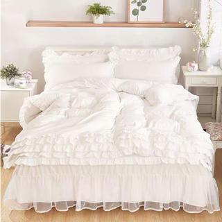 白雪の童話♪3〜4点フリル無地寝具セット四季枕カバー付 肌触最高(シーツ/カバー)