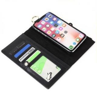 iPhoneレザーケース 手帳型X/XS ブラック コインケース一体型・財布付(iPhoneケース)
