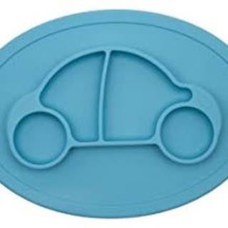 新品☆幼児用食器 ベビー食器 シリコン製プレート マット一体型 ブルー