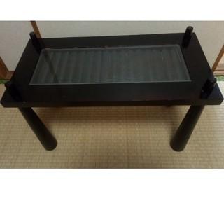 アジアン雑貨 ガラス板 テーブル 縦30センチ横60センチ脚39センチ(ローテーブル)
