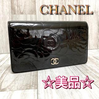 シャネル(CHANEL)の☆美品☆シャネル CHANEL 二つ折り長財布 カメリア ココマーク エナメル(財布)