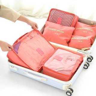 旅行用 バッグインバッグ メッシュ ケース ポーチ 収納 6点 コーラルピンク
