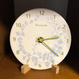アフタヌーンティー(AfternoonTea)のアフターヌーンティー 時計 置き 掛け 花 陶器 白 ブルー 美品(置時計)