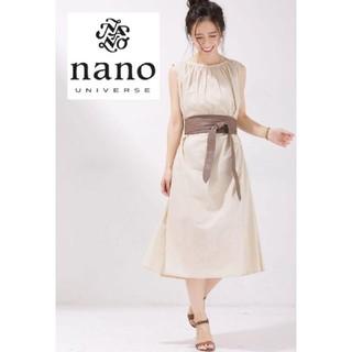 nano・universe - サッシュベルト付き✨さらさらコットン素材ワンピース