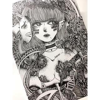 幾何学模様☆世界観☆ペン画☆イラストレーションボード☆1mm厚☆手描き☆イラスト(その他)
