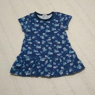 コンビミニ(Combi mini)のコンビミニ 半袖ワンピース ブルー 花柄 青 80(ワンピース)
