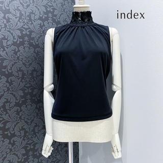 インデックス(INDEX)のINDEX インデックス ◆ 日本製 レース ハイネック トップス カットソー (カットソー(半袖/袖なし))