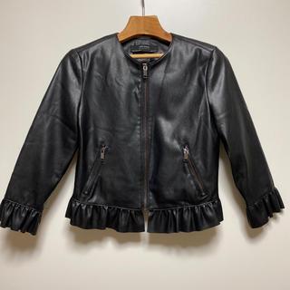 ZARA - ZARA BSIC  合皮 レザージャケット  七分袖 黒