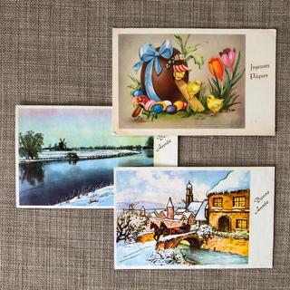 ヴィンテージポストカード「イラスト3枚セット」(使用済み切手/官製はがき)