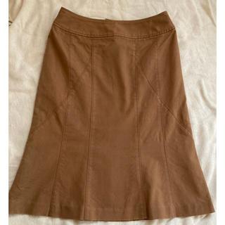 インディヴィ(INDIVI)のINDIVI インディヴィ スカート ブラウン キャメル(ひざ丈スカート)