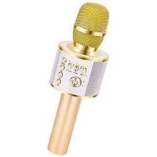 ゴールドVerkstar Bluetooth カラオケマイク ポータブルスピーカ(マイク)